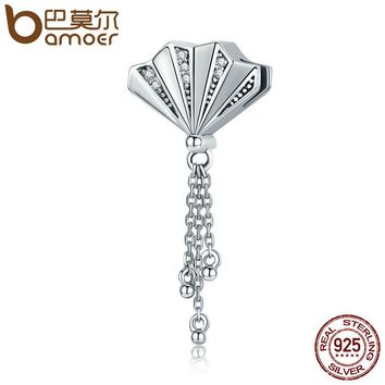 Authentic 925 Sterling Silver Oriental Fan Melody & Long Chain Dangle Charms Fit Bracelets DIY Jewelry Gift S925 SCC241