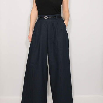 Women Linen pants Navy pants Wide leg high waist pants