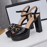 GUCCI Women Fashion Peep Toe Ankle Strap High Heels Shoes