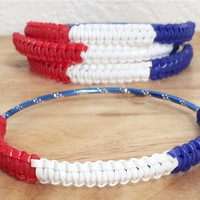 Patriotic Red White Blue Rexlace Cobra Bangle