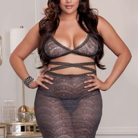 iCollection Lingerie Plus size Strappy lace bralette and skirt set bra set