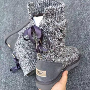 """UGG"" female fashion wool snow boots wool shoes Grey"