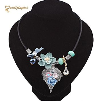 MEIDIJINGBEI Women's Fashion New Necklace National Wind Handmade Fabric Flower Necklace European and American Alloy Leaf Item