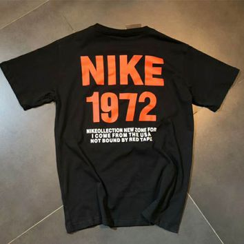 NIKE 1972 Memorial Summer Tide Fashion Men and Women Fashion Short Sleeve F-MG-FSSH black