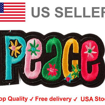 Peace Iron on / sew on Embroidery Patch Badge Rainbow Embroidered Floral Motif