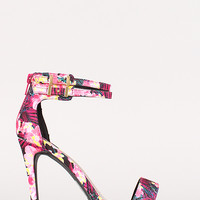 Qupid Grammy-07 Floral Ankle Strap Open Toe Heel