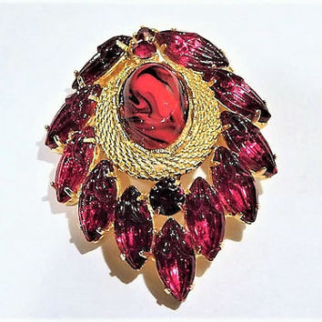 Vintage Brooch Mid Century Red Rhinestone Brooch Molded Glass Slag Art Glass Brooch Hollywood Glam Bling Valentines Day Gift Her