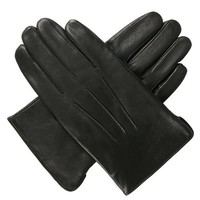 Luxury Lane Men's Cashmere Lined Lambskin Leather Dress Gloves