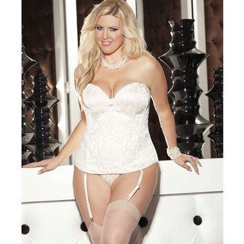 Tapestry Corset W-removable Garters & G-string Ivory 42