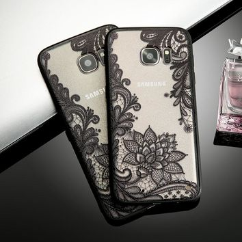 Retro Lace Flower Phone Cases For Smasung Galaxy S8 Plus S7 S6 edge Fundas Fashion Sexy Paisley Floral Case Soft TPU Back Cover