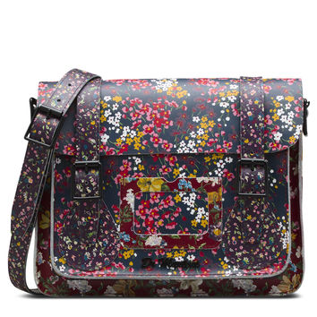"DR MARTENS 11"" FLORAL LEATHER SATCHEL"