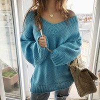 Korean Loose Large Sweater V-Neck Bat Sleeve Soft Knit Long Pullover Winter Clothes Women Mohair Thick Thread Sweater Jacket