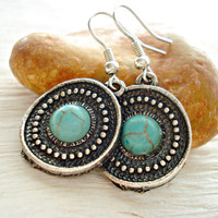Boho Earrings - Boho Jewellery - Boho Turquoise Earrings - Gypsy Earrings - Hippie Earrings - Tribal Earrings - Ethnic Earrings
