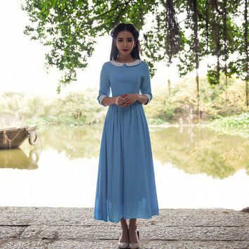 Sky Blue Sleeve Peter Pan Collared Maxi Chiffon Dress