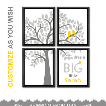 yellow and gray personalized baby wall decor birds in a tree nursery room art baby girl nursery boy nursery art new parents gift baby decor