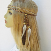 NATURAL WOMAN braided hippie boho headband natural feathers women hair accessories earth tones