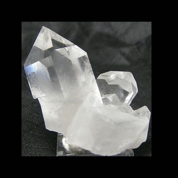 Quartz Crystal with silvery gray Chevron Phantom Very Clear Crystals from Mt Ida Arkansas