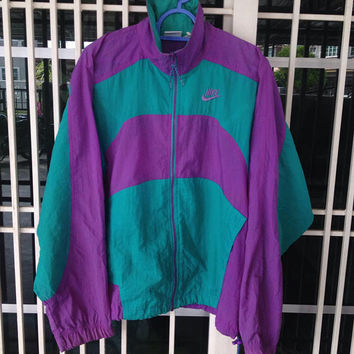 Vintage 80s 90s Nike  multi colour windbreaker jacket / zipper jacket / hip hop style jacket