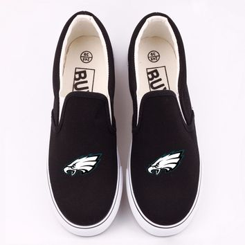 Personality Eagle Bird Printed Canvas Shoes Women Custom America Philadelphia City Team Fans Casual Loafers Slip On Chaussure