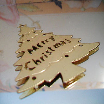 Metal Christmas Tree Ornament Merry Christmas Cut Out Festive Holiday Home Decor