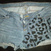 Cheetah print jean shorts by BleachedBlues on Etsy
