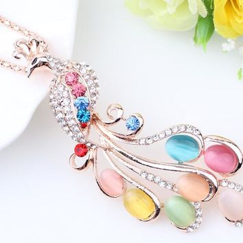 Statement Maxi Long Gold Chain Pendants Peacock Necklace Crystal Rhineston New Fashion Jewelry For Women Accessories