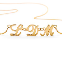 3 Initial Necklace: 14k Gold Necklace With Three Letters, Cursive Or Block