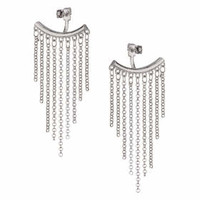 Bar and Chain Drop Front to Back Earrings - Silver