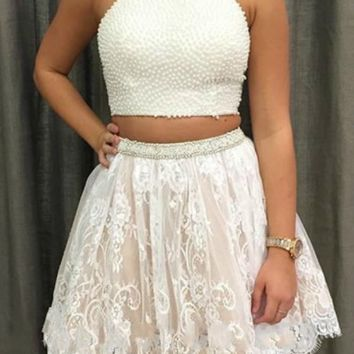 White Elegant Two Pieces Lace Homecoming Dress with Pearls