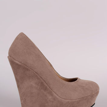 Suede Round Toe Platform Wedge
