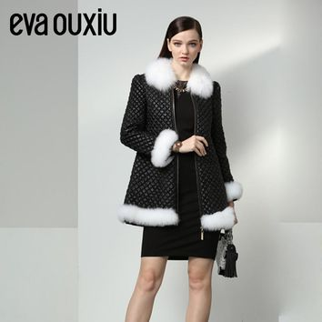 Evaouxiu Women Winter Down Jacket Long Coat Parkas Thickening Female Warm Clothes Fox fur Trim Overcoat