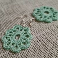 Mint Lace Crochet Earrings, Statement Earrings, 100% Cotton Lace