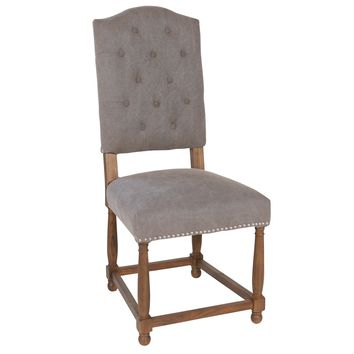 Dynasty Button Tufted Parsons Dining Chair, Grey