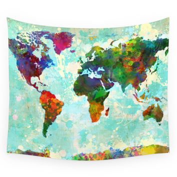 Society6 Abstract Watercolor World Map Wall Tapestry