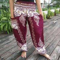 Exotic Red Purple Floral Art Design Oriental Print Trousers Yoga Pants Hippie Baggy Boho Clothing Gypsy Ethnic Tribal Cloth Beach Elegant