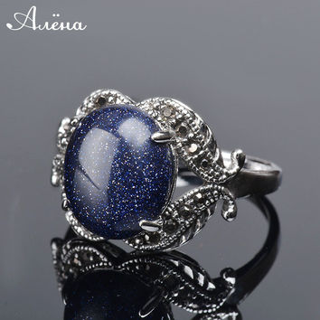 Blue Sand Natural Stone Ring Oval Inlaid Zirconia Big Rings For Women Blue Rings Silver Plated Natural Stone Ring anel vintage