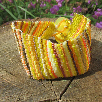 Cuff: Sun Streams Peyote Stitch Bracelet Cuff