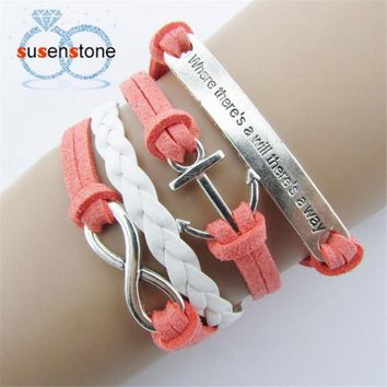 SUSENSTONE ExquisiteNautical Rudder Anchor Bracelet Infinity Handmade Coffee Leather Rope