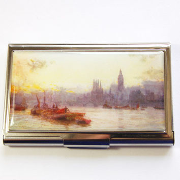 Business Card Case, Landscape, London Painting, London landscape, Card case, business card holder (2987)