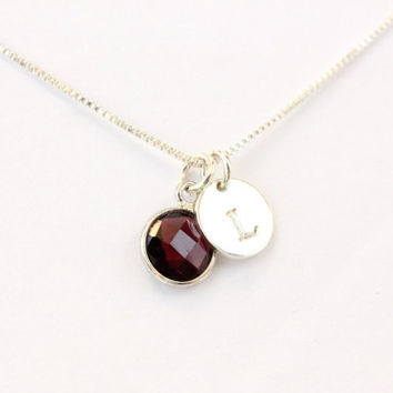 Garnet necklace, sterling silver personalized necklace with genuine dark red gemstone stamped letter initial, initial necklace, bezel gem