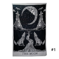 1 Pc Vintage Pattern Printing Tapestry Towel Black White Wolves Trees Printed Home Decoration