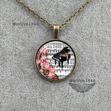Vintage Glass Piano Flower Necklace Pendant with Sheet Music