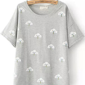 Grey Short Sleeve Cloud Print T-Shirt