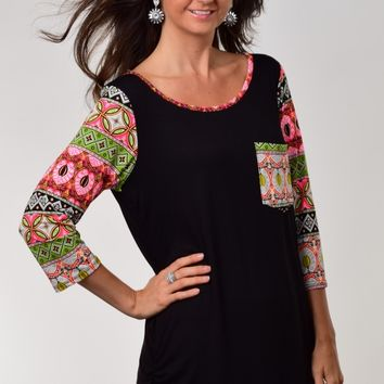 Now N Forever Brand Black Long Tunic Top with Neon Pink Printed Sleeves and Pocket