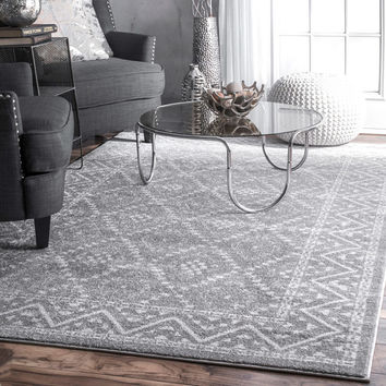 nuLOOM Traditional Vintage-inspired Tribal Diamond Trellis Border Grey Rug (8'2 x 11'6) | Overstock.com Shopping - The Best Deals on 7x9 - 10x14 Rugs