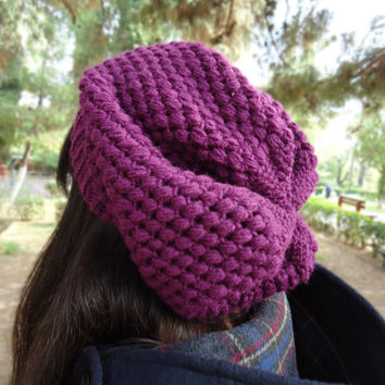 Women's crochet slouchy beanie hat, puff stitch beanie, crochet hat, womens hat, winter accessories, chunky hat, slouchy hat, purple hat