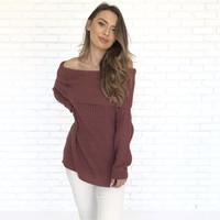 Take On The Day Sweater In Mauve