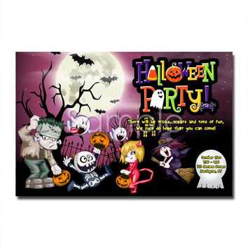 Halloween Party Invitation Zombie, birthday invitation, digital invitations
