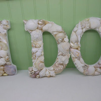 Beach Decor Shell Letters I DO - White Shell Letters - Wooden Letters - Beach Wedding