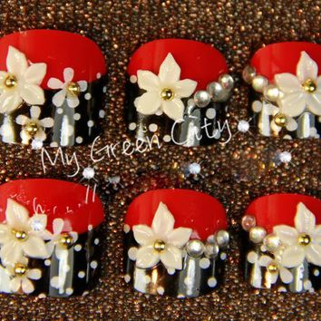 24pc Pre Designed False Fake Toe Nails Tips Sexy Red Black Match White Lily Rhinestones Z521
